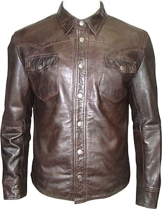Infinity Mens Brown Retro Shirt Style Jacket Real Leather Soft Touch Vintage Look (XXL)