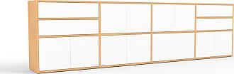 MYCS Sideboard Buche - Sideboard: Schubladen in Weiß & Türen in Weiß - Hochwertige Materialien - 301 x 80 x 35 cm, konfigurierbar