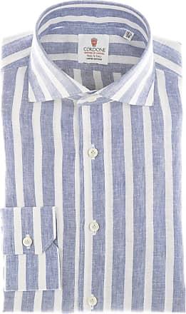 Cordone 1956 Camicia sartoriale Mod. Linen Big Stripes Light Blu And White - Tessuto lino - Colore light blu - Taglia 36