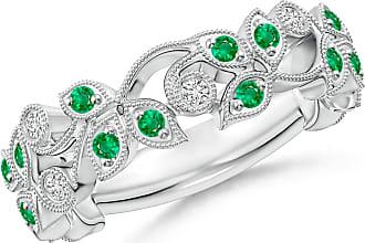 Angara Valentine Day Sale - Nature Inspired Round Emerald & Diamond Vine Band