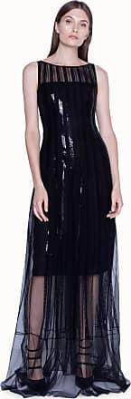 Akris Langes Abendkleid mit Pailletten-Streifen auf Tüll