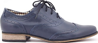 Zapato Womens Leather Oxford Shoes Model 246 Navy