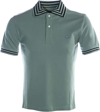Vivienne Westwood Stripe Collar Polo Shirt in Sage Green