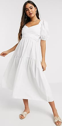 Stradivarius Poplin midi-jurk met riem in wit