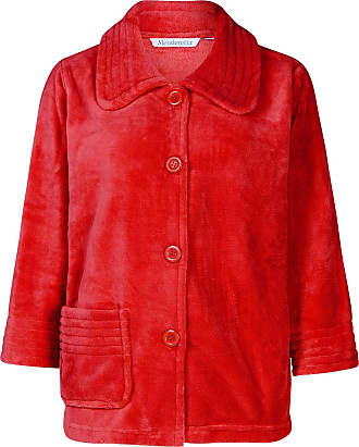 Slenderella Womens Button Up Soft Fleece Bed Jacket Housecoat with Pocket Large (Red)