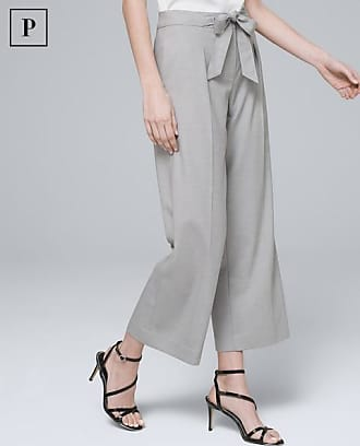 White House Black Market Womens Petite Herringbone Cropped Wide-Leg Pants by White House Black Market, Light Gray, Size 00