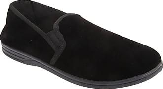 Zedzzz Mens Ross Twin Gusset Velour Slippers (13 UK) (Black)