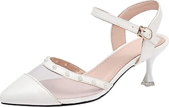 Mediffen Garggi Ladies Kitten Heels Fashion Pointed Toe Ankle Strap Mesh Sandals Women Elegant Evening Party Dress Sandals Prom Wedding Shoes White Size 33 Asi