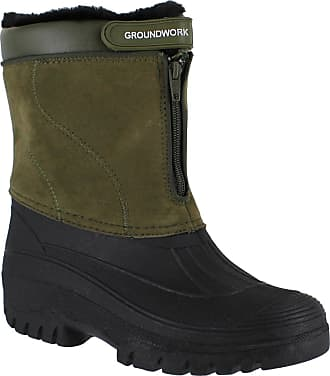 Groundwork NEW LADIES HORSE RIDING YARD WATERPROOF STABLE WALKING RAIN SNOW WINTER SKI WARM FARM MUCKER BOOTS KHAKI 6
