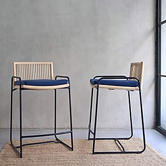 New Pacific Direct 1080002 Virza Rattan Counter Stool Furniture, Deep Blue