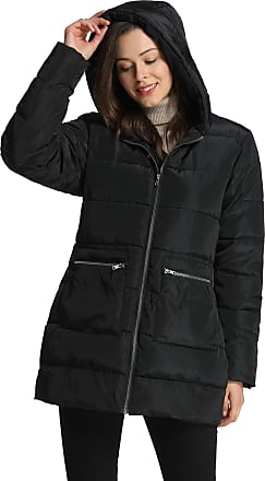 iLoveSIA Womens Hooded Puffer Coat Alternative Quilted Padded Thicken Jacket Black UK 14