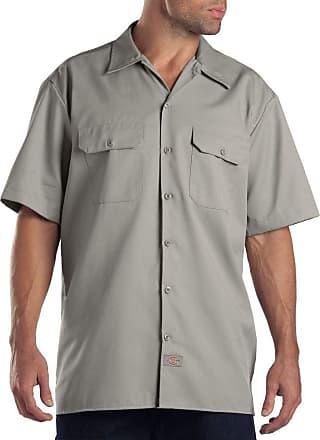 Dickies Mens Short Sleeve Work Workwear Shirt, Silver (Silver Grey), Medium