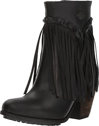 Harley-Davidson Harley-Davidson Womens Retta Black or Tan 6-Inch Stacked Heel Booties, D83985