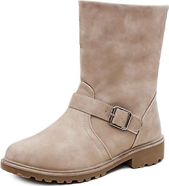 0192efa5ae380d Marimo Damen Stiefel Stiefeletten Worker Boots mit Schnalle in hochwertiger  Lederoptik warm gefüttert Beige 38