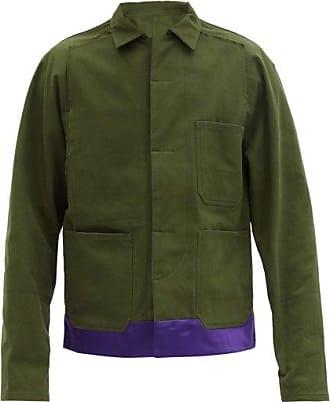 Haider Ackermann Silk-satin Trimmed Cotton-canvas Jacket - Mens - Green