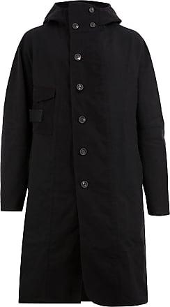 Ziggy Chen single-breasted hooded coat - Black