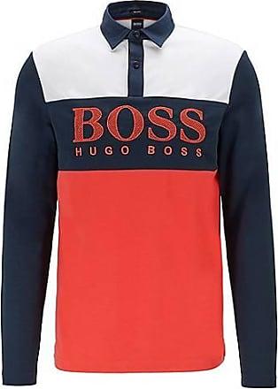 BOSS Long-sleeved polo shirt with mesh-effect logo print
