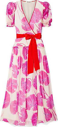 Diane Von Fürstenberg Ruffled Printed Crinkled Silk-chiffon Wrap Maxi Dress - Pink