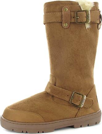 Womens Ladies Warm Ella Biker Buckle Fur Lined Flat Winter Snug Boots Low Heel