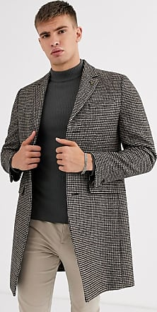 Burton Menswear wool overcoat in brown check