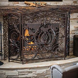 BEST SELLING HOME Hayward 3 Panel Iron Fireplace Screen Bronze - 295448