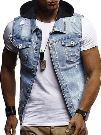 Hellomiko Men Claasic Slim Destoryed Sleeveless Denim Vest Casual Jeans Gilet Jacket Pockets Cowboy Waistcoat Outwear
