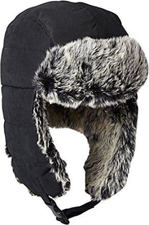 Dockers Mens Brushed Nylon Trapper Cap with Faux Fur Lining, Black, SMALL/MEDIUM