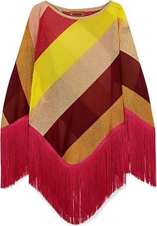 Missoni Fringed Striped Metallic Crochet-knit Poncho - Yellow