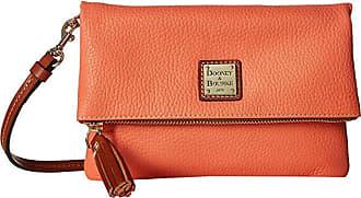 Dooney & Bourke Pebble Foldover Zip Crossbody (Coral/Tan Trim) Cross Body Handbags