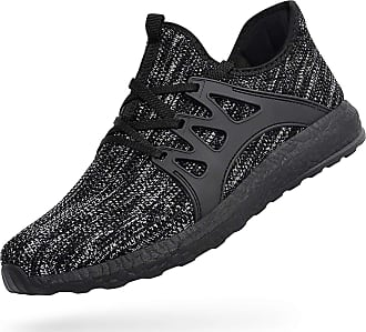 Zocavia Men Women Trainers Lightweight Running Sports Shoes Outdoor Non Slip Walking Gym Fitness Athletic Shoes Grey Black