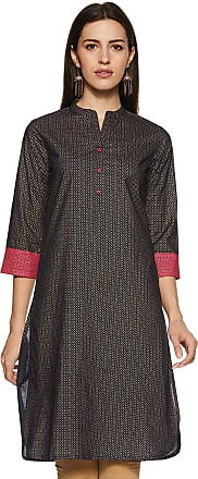 Indigo Womens Cotton Straight Kurti (SS-19/IND-108 B_ Black_ X-Large)