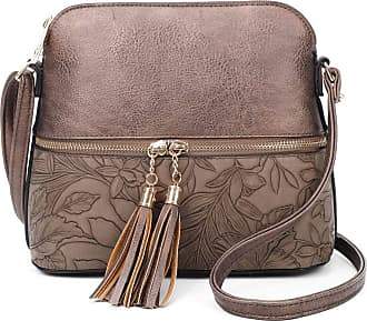 LeahWard Womens Quality Faux Leather Cross Body Bags Tassel Shoulder Bag Handbags For Holiday Party 1061 (Bronze Floral)