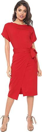 Colcci Vestido Colcci Midi Amarração Vermelho