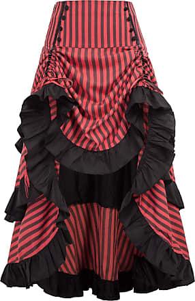 Belle Poque Women Halloween Skirt Victorian Steampunk High Low Cosplay Fancy Party Skirt Long Ruffled Cake Skirt BP345-1 M