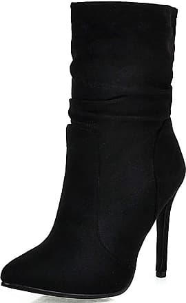 Vimisaoi Womens Wide Mid Calf Boots, Suede Pointed Toe Slip On Stiletto High Heels Slouch Ankle Booties