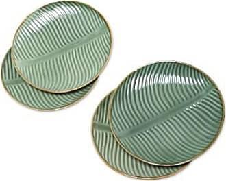 Novica Ceramic dessert plates, Banana Vibes (set of 4)
