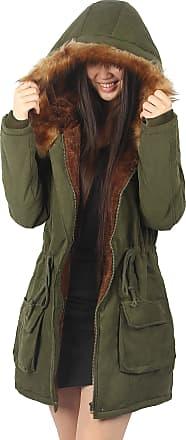 iLoveSIA Womens Winter Warm Coat Faux Fur Lined Parka New Army Green UK 10