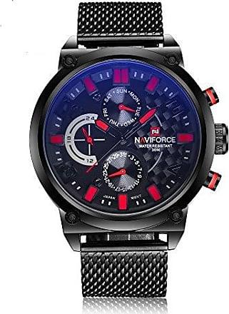 NAVIFORCE Relógio Masculino Naviforce 9068 BRB Pulseira em Aço - Preto e Vermelho
