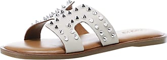 Inuovo Womens Leather Studded Sliders 6 Beige