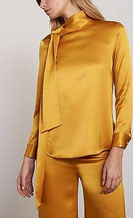 Adam Lippes Adam Lippes Woman Tie-neck Silk-satin Top Saffron Size 12