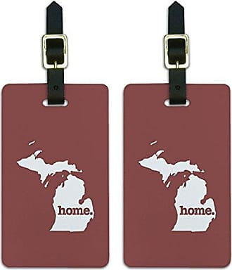 Graphics & More Graphics & More Michigan Mi Home State Luggage Suitcase Id Tags-Solid Marsala Wine, White
