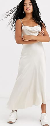 Miss Selfridge satin maxi slip dress with cowl neck in off white-Beige