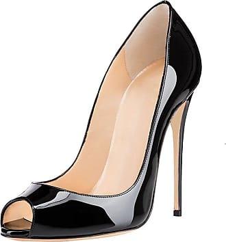 EDEFS Womens Open Toe High Heel Court Shoes Classic Slip On Stilettos Dress Pumps Black EU44