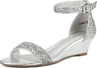 Dream Pairs Womens Ingrid Silver Glitter Ankle Strap Low Wedge Sandals Size 9.5 US/7.5 UK