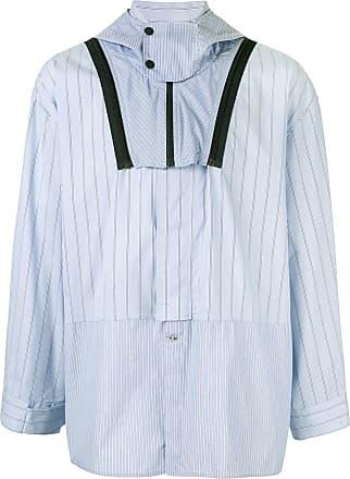 Yoshiokubo mixed striped hooded shirt - Blue
