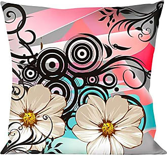 Buckle Down Pillow Decorative Throw Flowers Filigree Pink