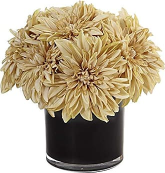 Nearly Natural Dahlia Mum Silk Arrangement in Vase, Cream