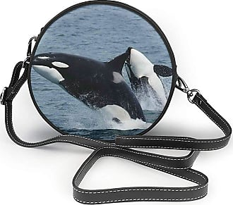 Turfed Killer Whales Jumping Out Of Sea Fashion Round PU Crossbody Handbag Round Shoulder Bag For Women Girls