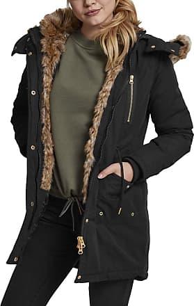 Urban Classics Womens Ladies Imitation Fur Parka, Black (Black 7), XL
