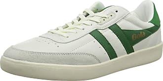 Gola Mens Inca Leather Trainers, White (Off White/Green/Off White Xn), 12 (46 EU)